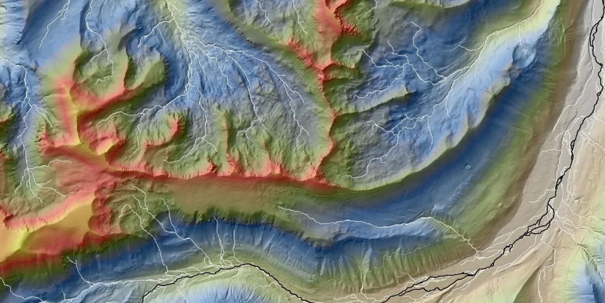 color shaded topographic image of a channel network
