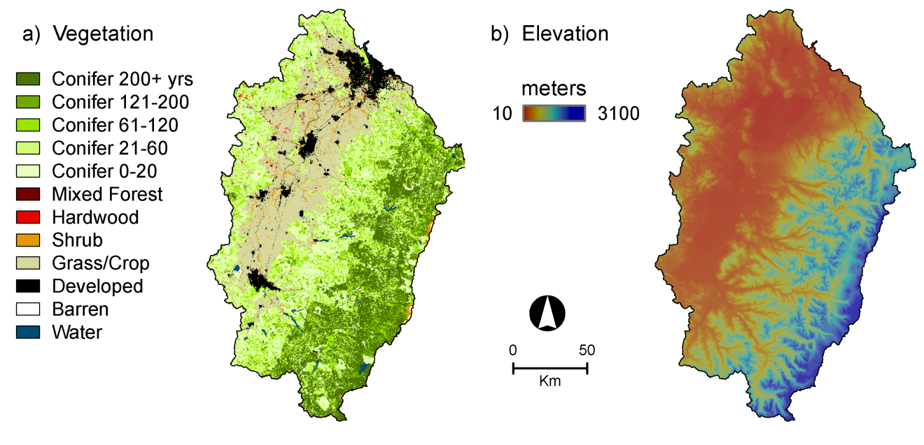 Figure 1. The Willamette River Basin study domain: a) Vegetation cover and conifer age class, b) Elevation.