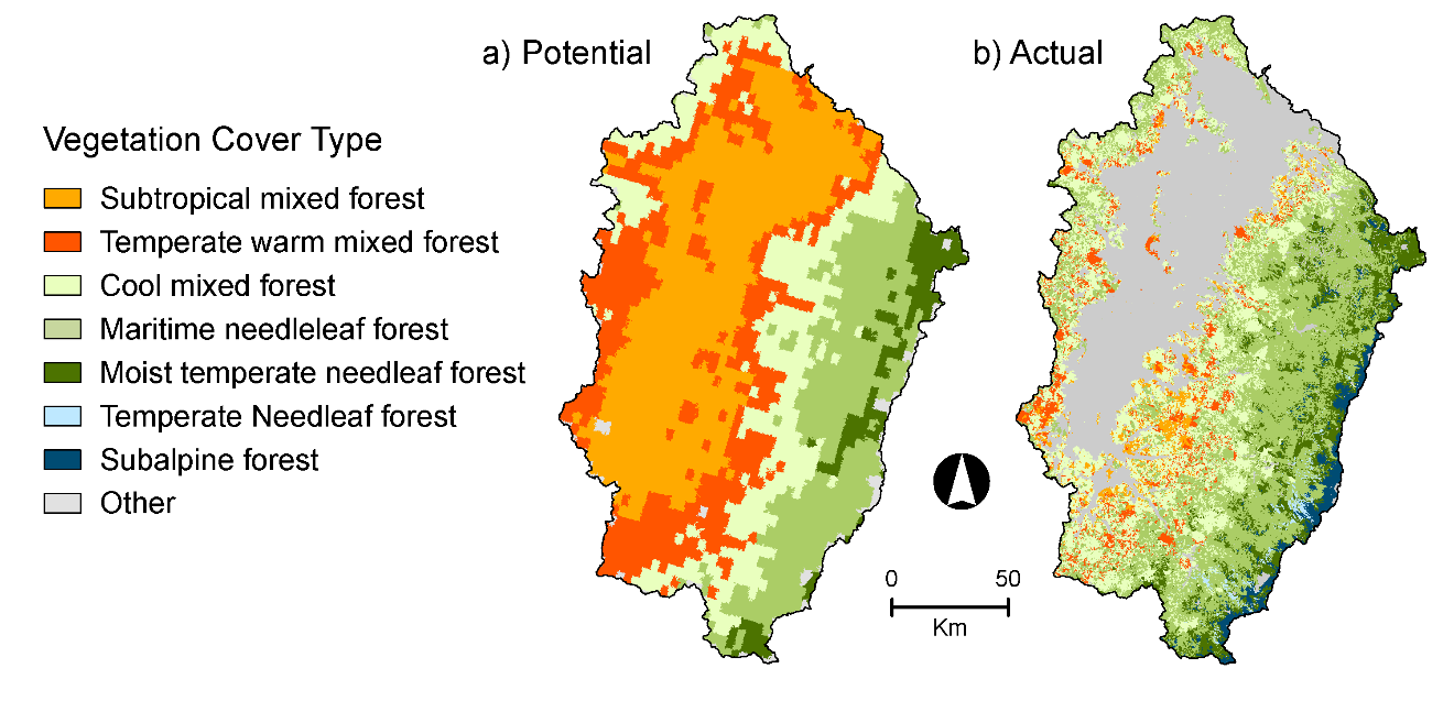 Figure 5.  Vegetation distribution in 2100 for the Reference Case scenario: a) Potential Vegetation Cover type (from MC2), a) Actual Vegetation Cover type (from Envision).