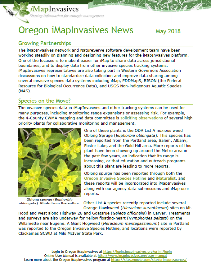 iMapInvasives News - May 2018
