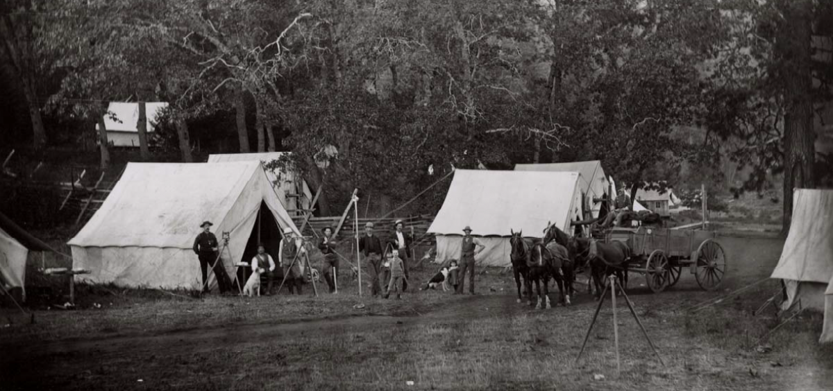Photo of a survey team in the Siskiyous, 1887.