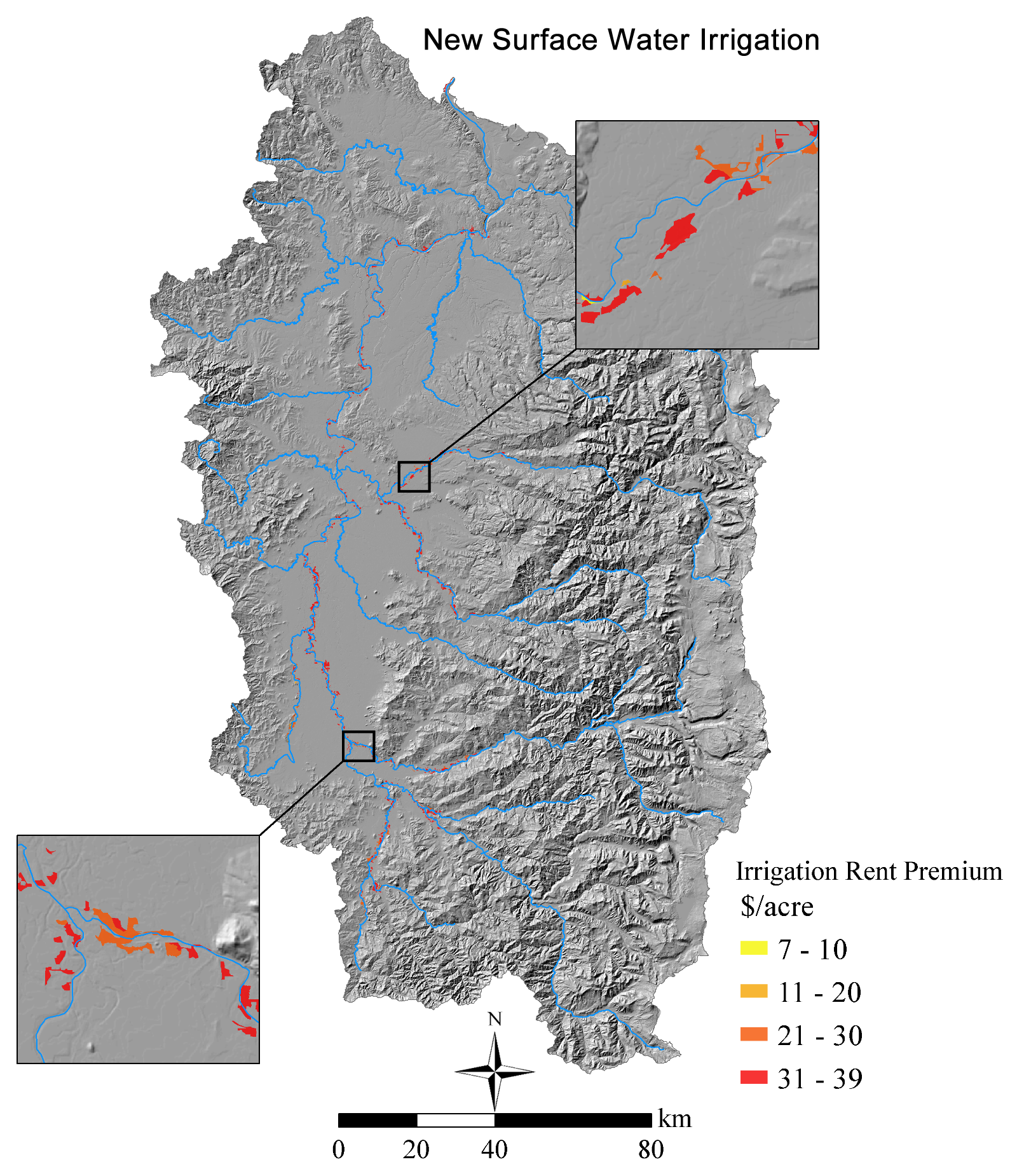 Locations of new irrigation water rights with low conveyance cost assumptions.