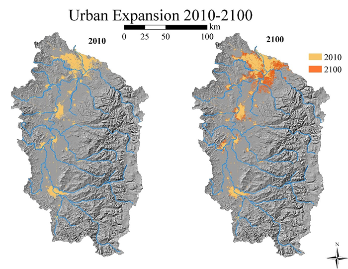Map showing urban expansion in the Reference scenario.