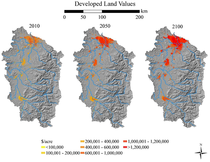 Developed land values for the Reference scenario.